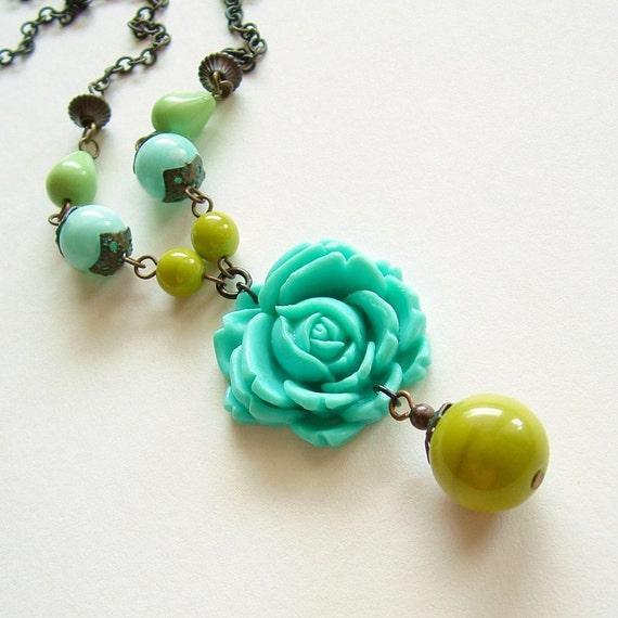Turquoise Carved Rose Necklace Vintage Large Flower Pendant Colorful Aqua Chartreuse