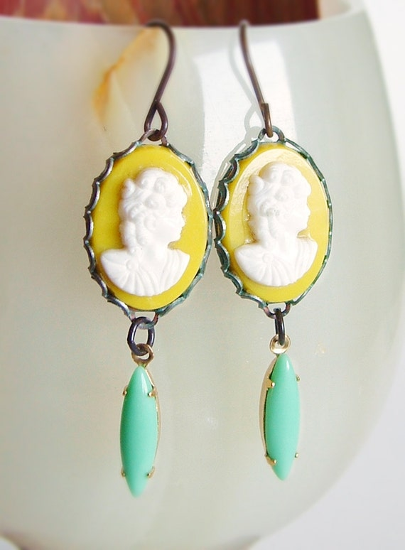 Yellow Cameo Earrings Vintage Lady Cabochons Aqua Glass Drops