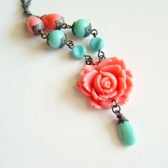 RESERVED Coral Pink Carved Rose Necklace Vintage Large Flower Pendant Colorful Pink Turquoise Aqua