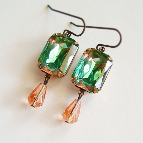 Green Peach Jewel Earrings Vintage Faceted Glass Rhinestone Peaches and Mint