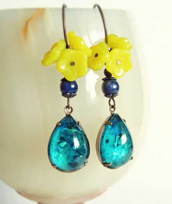 Turquoise Lagoon Glass Earrings Vintage Domed Jewels Nail Polish Jewelry Aqua Lime