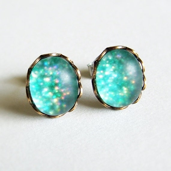 Turquoise Glitter Post Earrings Vintage Frosted Cabochon Studs Hypoallergenic Turquoise Green