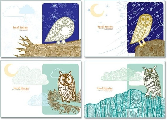 SALE - Owl Cards (set of 4) By Gabrielle Reith