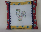 French Country Pillow With Hand Embroidered Rooster