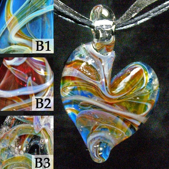 hand blown cremation glass jewelry urn remembrance keepsake necklace pendant human / pet ashes