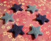 Needle Felted Stars -- Shades of Blue Skies