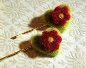 Sale - Hair Pins - Needle Felted Flower and Heart Hair Clips - Gold Silver or Green Bobby Pins - You Choose the Colors