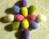 Felt Eggs - 12 Needle Felted Small Custom Eggs - You Choose the Colors - Easter Egg Beads or Toys - Spring Home Decor