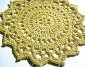 Sale - Doily - Crocheted Gold Lace Doily - Handmade Lace - Lacy Ivory and Gold Table Decor