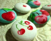 Last Sets - Cheerful Cherries Fabric-Covered Buttons - Limited Sets Left - Summer Fruit Themed Bright Fabric Covered Buttons - Pink & Red