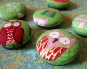Owl Magnets - Christmas Magnets - Holiday Magnets - Fabric-Covered Crazy Owl Magnets - Set of 6