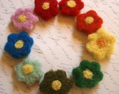 Wool Flowers - Needle Felted Flowers - Set 2 of 3 - Felt Floral Appliques - Rainbow Set