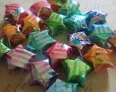 Origami Stars - 20 Iridescent Striped Asian Flower Garden Origami Lucky Stars - Rainbow Wishing Stars - Floral Stripe Dreaming Stars