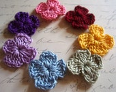 Small Crocheted Flower Garden -- Tiny Forget-Me-Nots - Crocheted Flowers - Tiny - Small - Rainbow - Spring