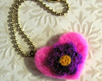 Key Chain - Needle Felted Pink Heart and Purple Flower Key Ring - Felted Wool Keychain - Stocking Stuffer for Girls Teens Women