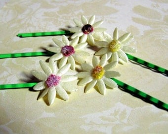 Embroidered and Glittered Daisy Bobby Pins -- One Pair