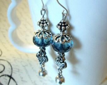 Sale - Czech Glass Silver Dangle Earrings - Silver Tierra Cast Ice Blue Picasso Czech Glass Fine Silver Earrings for Her