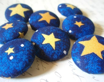 Starry Starry Night Fabric-Covered Buttons - Blue and Yellow Star Fabric Buttons - Childrens Novelty Covered Button Set - Kids Buttons