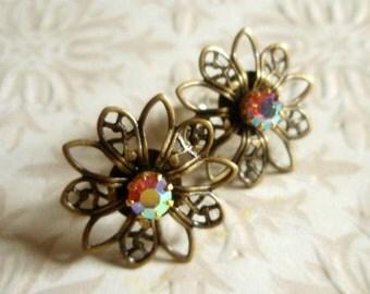 Sale - Swarovski Earrings - Vintage-Inspired Antiqued Brass Filigree Post Pink Austrian Crystal Flower Floral Earrings
