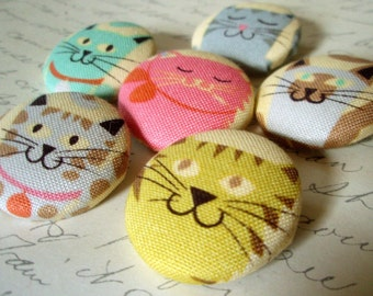 Kitty Cat Buttons - Fabric-Covered Buttons - Large Round Shanked or Flat Backed Buttons - Cute Cats Fabric Buttons - Childrens Buttons