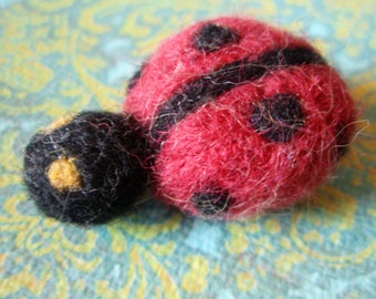 Needle Felted Miss Lady Beetle Plush Pin Brooch Magnet