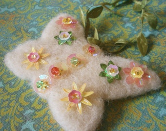 Butterfly Ornament - Swarovski Crystal and Beaded and Sequined Embellished Needle Felted Sparkling Wool Spring Decoration