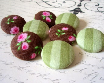 Buttons - Shabby Victorian Cottage Roses Romantic Floral Fabric-Covered Shanked or Flat-Backed Buttons - Feminine Flannel Cottage Chic Set