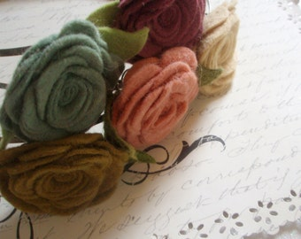 Headband - Felt Rose Flower Antiqued Brass Headband - You Choose the Color - Handmade Flower Headband