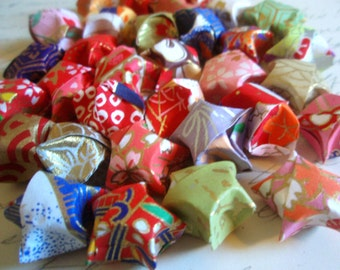 15 Washi Paper Origami Lucky Stars - Chinese New Year - Confetti - Gift Enclosure - Party Favors - Colorful Metallic Paper Stars