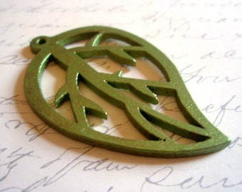 Pendant - Painted Wooden Metallic Green Leaf Pendant - Hand-Painted - Asian-Style Pendant or Ornament