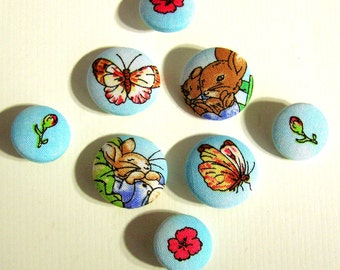 Buttons - Peter Rabbit Fabric-Covered Buttons - Limited Edition - Children's Buttons - Beatrix Potter