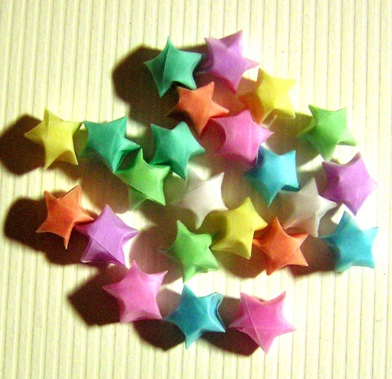 last set 24 pastel vellum small origami lucky stars