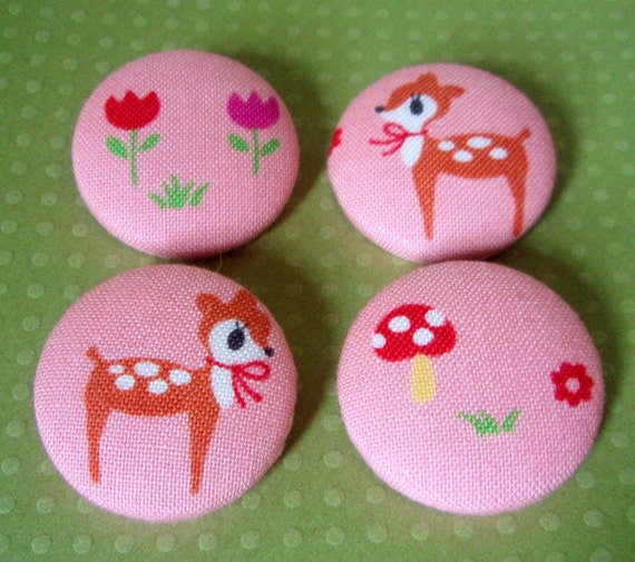 Last Sets - Kawaii Deer Fabric-Covered Buttons - Set of Four Buttons - Flowers, Mushroom, and Deer - Woodland Animal Buttons