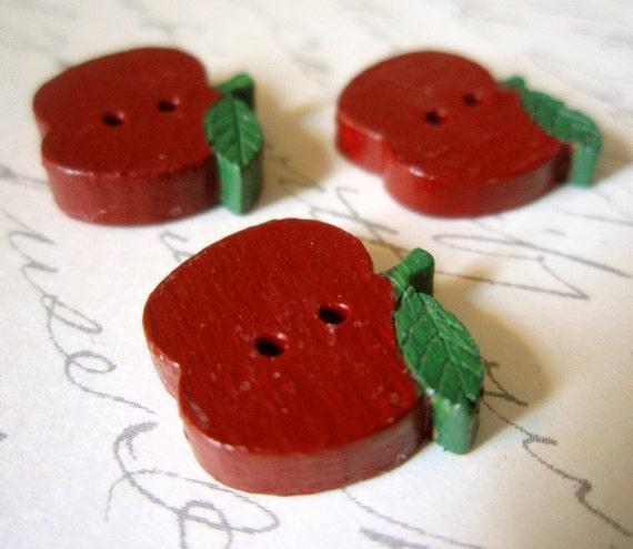 Hand-Painted Wooden Buttons - Juicy Red Apples