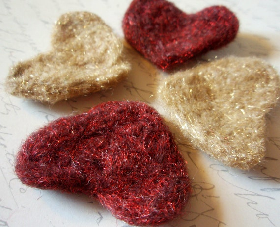 Heart Appliques - Needle Felted Hearts - Metal Mix - Valentines Day Mix - Love Mix - Red and Gold Wool Felt Heart Shapes