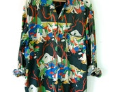 Oversized People Patterned 80's Shirt