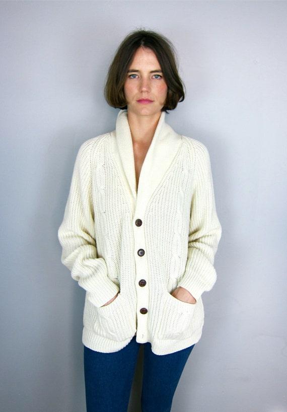 Cream Knit 60's Fisherman's Cardigan Sweater