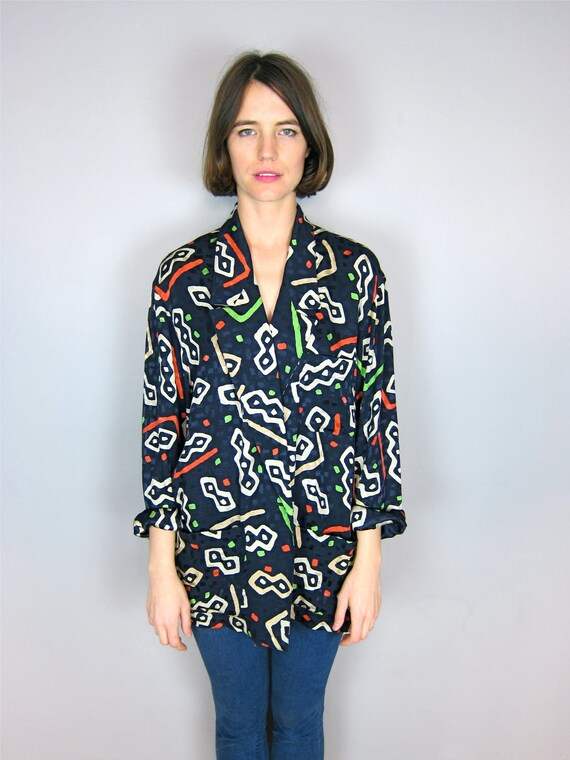 Amazing Patterned Silk Anne Klein Slouch Blazer