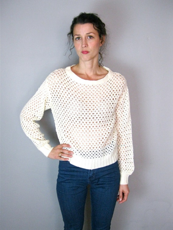 Creamy Mesh 1970's Sweater
