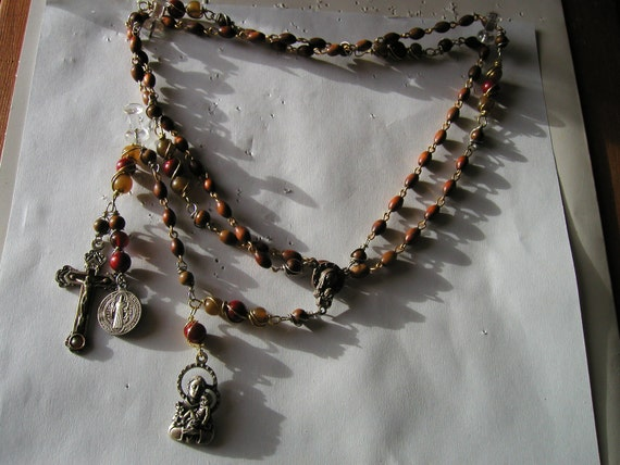 Danusharose Vintage 2 Medal St Anthony St Benedict Irish Horn Coral Wood Rosary