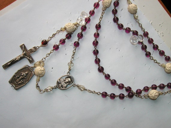 Danusharose Vintage Queen of Peace Amethyst Purple and White Rose Bead Sterling Cross Rosary