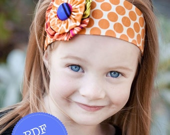 Headband Pattern. PDF Sewing Pattern for Funky Flower Headband, Reversible Cotton Fabric Head Band, Make and Sell, DIY By Angel Lea Designs