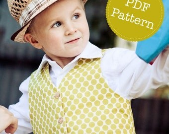 PDF Sewing Pattern for Little Lads' Reversible Vest, Waistcoat, Make and Sell, DIY. Sewing Patterns by Angel Lea Designs, Instant Download