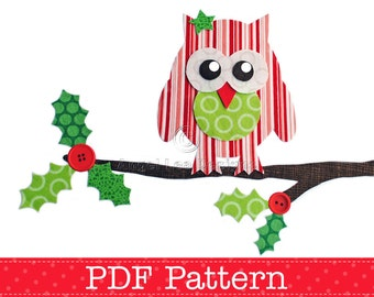 Christmas Owl on Holly Branch Applique Template, DIY, PDF Pattern by Angel Lea Designs