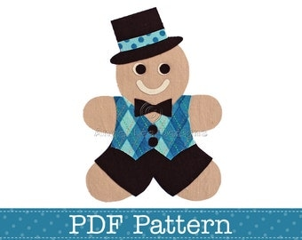 Gingerbread Man Applique Template. Make Your Own Embellishments. DIY. PDF Pattern by Angel Lea Designs