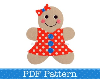 Gingerbread Girl Applique Template. Make Your Own Embellishments. DIY. PDF Pattern by Angel Lea Designs