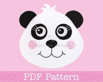 Panda Applique Template PDF Pattern for Raw Edge Fusible Web Applique Making PDF Template by Angel Lea Designs