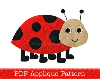 Ladybug Applique Template. Ladybird Lady Beetle Applique Design. PDF Applique Pattern by Angel Lea Designs