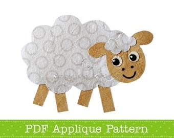 Sheep Applique Template, Farm Animal Applique Design, PDF Applique Pattern by Angel Lea Designs
