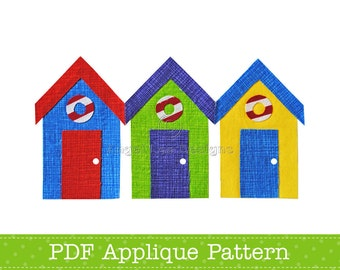 Beach Huts Applique Template Bathing Huts PDF Applique Pattern Summer Applique Design